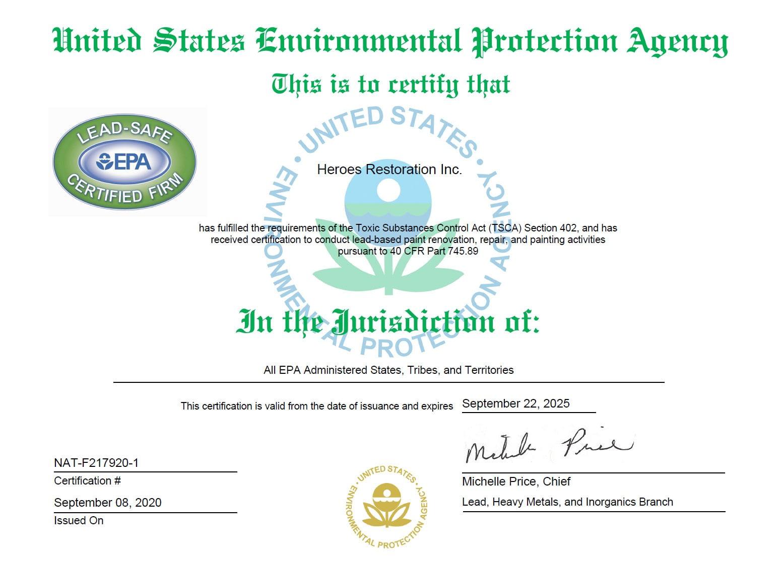 Heroes Restoration Inc. is EPA Certified